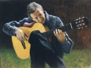 Painting of guitar player